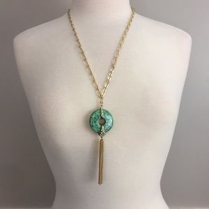 Green Marbled Disc Tassel Necklace